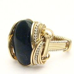 Wire Wrapped Black OnyxTwo Tone Silver / 14kt GF Ring #Wrap