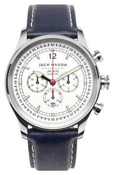 Jack Mason Brand Nautical Chronograph Leather Strap Watch, 42mm ✤ #stylefromachitownerseye
