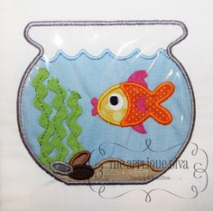 This listing is for a Fish Bowl Embroidery Design Machine Applique.    With your purchase you will receive the applique in 3 sizes: 4X4, 5X7 and
