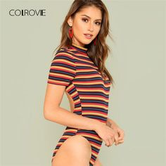 d7b3440525f COLROVIE Open Back Rib Knit Striped Bodysuit 2018 Summer Short Sleeve Stand  Collar Skinny Women Clothing
