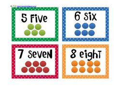 Here's a set of number cards from 1-20 with numerals, number words, and dots.