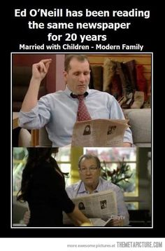 Ed ONeil has been reading the same newspaper for 20 years - on Married with Children and Modern Family. Wow. Check out some more awesome stuff here http://omgwhatsthat.com