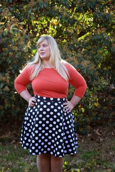 Idle Fancy: 3/4 Circle Skirt made in Navy-and-White Polka Dotted Pique