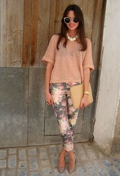 wear a top that's the same color as one of the hues in the pants. add glam accessories like a statement necklace and cute shoes