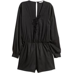 H&M Jumpsuit with Lacing $14.99 (48 BRL) ❤ liked on Polyvore featuring jumpsuits, h&m jumpsuit, jump suit, long sleeve jump suit, short jumpsuits and v neck jumpsuit