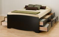 Tall Queen Captain's Platform Storage Bed with 12 Drawers @ DA Stores LLC