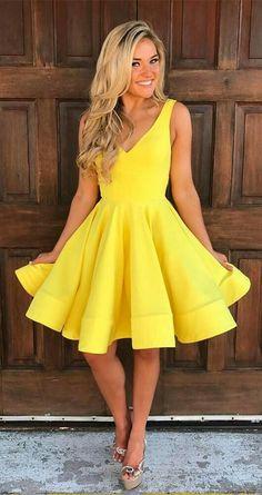 Yellow homecoming dresses,homecoming dresses short,simple homecoming dress,knee length homecoming dresses