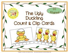 These cards are terrific for Math Centers – A Hands-On Activity your kiddos will love! The Ugly Duckling Clip Cards allow learners to practice counting. WAIT, THERE'S MORE!!! More cards that is. Now, you have 20 clip cards! The Ugly Duckling Count & Clip Cards help your little tykes practice counting from 1 to 20!!!