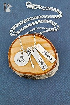 """My Tribe Bridesmaid Necklace - DII - Handstamped Homemade Jewelry Silver Arrow Charm - 5/8"""" Disc 1"""" Tag - Ships in 1 Business Day - Wedding nacklaces (*Amazon Partner-Link)"""