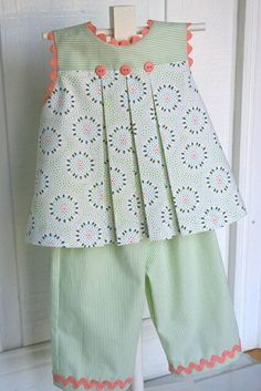 """Children's Corner """"Mallory"""" w """"Charlotte"""" pants. I love the Mallory pattern, but never thought about making it into a top. Could also put it with Becky shorts. Kids Frocks Design, Baby Frocks Designs, Baby Girl Dress Patterns, Baby Dress Design, Frocks For Girls, Dresses Kids Girl, Girls Dresses Sewing, Toddler Outfits, Kids Outfits"""