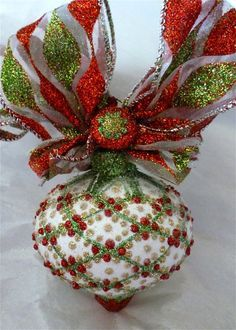 Holiday Glitter Glass Ornament by KARCREATIONS on Etsy