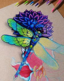 Dragonfly WIP by Danielle Washington Fairy Wings Drawing, Dragonfly Drawing, Dragonfly Tattoo, Chalk Pencil, Color Pencil Art, Realistic Pencil Drawings, Art Drawings, Pencil Tattoo, Black Paper Drawing