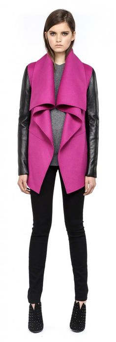 Mackage - VANE-F4 MAGENTA LIGHT WOOL JACKET WITH LEATHER SLEEVES FOR WOMEN///Love this jacket