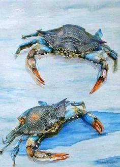 Crab Art, Fish Art, Dog Paintings, Watercolor Paintings, Watercolors, Crab Painting, Louisiana Art, Watercolor Ocean, Fish Illustration