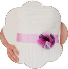 Braut Gürtel mit Seiden Blüte in Rosa Pink . 24 Farben. Wedding Belts, Sashes, Ribbons- Bridal Accessories. Rose pink fuchsia silk flower
