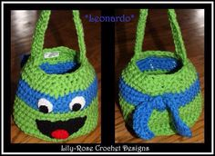 Image of Leonardo Teenage Mutant Ninja Turtle Crochet Easter Basket Tmnt Michaelangelo Raphael Donatello