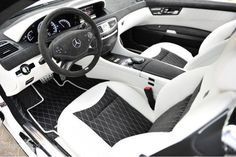 Black and white leather interior