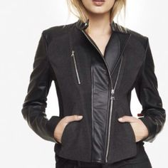 """REDUCEDWOOL BLEND MIXED MEDIA MOTO JACKET NO TRADES REDUCED  zip front, two snap welt hand pockets with snap collar Long faux leather sleeves Trapunto stitching at back hem; 22 1/2"""" long Fully lined Body: Wool/Polyester  Dry clean only Express Jackets & Coats"""