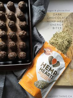 These dark chocolate hemp heart energy bites are packed with protein from Manitoba Hemp Hearts, chia seeds and flax seed. This recipe is easy and no-bake!