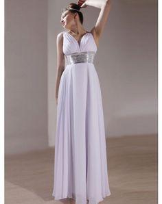 Chiffon Sleeveless V-neck Ankle-length A-line Graduation Dresses