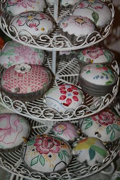 Tart tins for pin holders!  Isa Creative Musings: Spring Sugar Plum Bazaar - LOTS of Booth Photos!