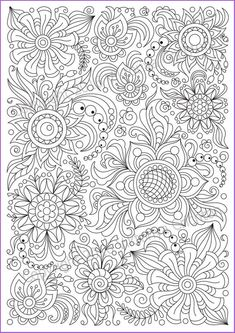 Сoloring page doodle flowers printable, zen doodle, PDF, zentangle inspired. Abstract Coloring Pages, Pattern Coloring Pages, Printable Adult Coloring Pages, Flower Coloring Pages, Mandala Coloring Pages, Coloring Book Pages, Coloring Sheets, Flower Doodles, Doodle Flowers