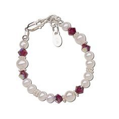 Childrens Sterling Silver SwarovskiCreated Birthstone Bracelet with Cultured Pearls *** Click image to review more details.