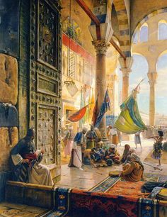 bauernfeind-Forecourt-of-Ummayad-Mosque.jpg Orientalists Paintings Gallery