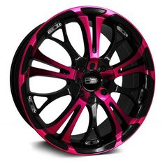 black and pink rims. I need to paint my car black first n then these wud look awesome black and pink rims. I need to paint my car black first n then these wud look awesome black and pink rims. I need to paint my car black first n Pink Wheels, Wheels And Tires, Car Wheels, Mustang Wheels, Chrome Wheels, Moto Rose, Vw Polo 9n3, Pink Rims, Pink Truck