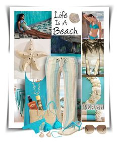 """Life Is A Beach"" by diva1023 ❤ liked on Polyvore featuring Giftcraft, WearAll, Sun Bum, Hawaiian Tropic, Roxy, Lipsy, Victoria Beckham, MARA, Mixit and Rosantica"