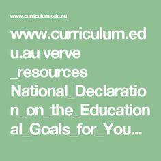 au verve _resources National_Declaration_on_the_Educational_Goals_for_Young_Australians. University Courses, Curriculum, Behavior, Goals, Education, Resume, Behance, Teaching Plan, Onderwijs