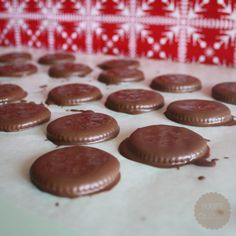 Homemade Thin Mints - Only two ingredients...Sleeve of Ritz crackers and Andes creme de menthe baking chips