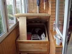 One Room Flat, Balcony Design, Balcony Garden, Sweet Home, Storage, Wood, Interior, Projects, House