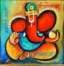 Yellow Acrylic Painting by Sanjay Damodar Raut on canvas, God/Godess based on…