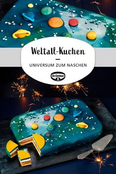 Weltall-Kuchen Space cake: An orange pudding shortbread sheet cake in space optics made of mirror glaze with galaxies and planets made of marzipan birthday # space motto # astronauts Drink Party, Desserts Ostern, Baking With Kids, Chocolate Recipes, Kids And Parenting, Kids Meals, Cookie Recipes, Biscuits, Fondant