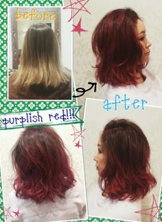 Before→after  Hairstyles Change!  Purple Red Ombre  Photo by Welina