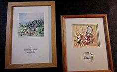 """2 PC SET of FRAMED/MATTED ILLUSTRATIONS from DISNEY'S """"CLASSIC POOH COLLECTION"""" #Disney #Cartoon $18.99"""