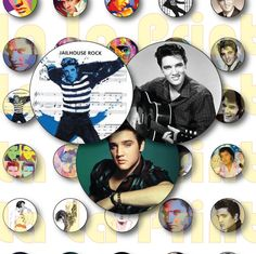 30 Elvis Presley Party Stickers Circles size 1'', 20mm, 16mm, 14mm, 12mm sheet…