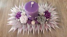 Ribbon Flower Tutorial, Diwali Diy, Fabric Ornaments, Kanzashi Flowers, Ribbon Crafts, Button Crafts, Diy Candles, Artificial Plants, Birthday Candles