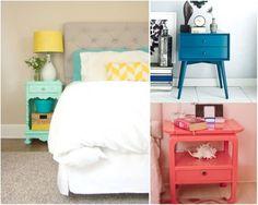 Dormitorio matrimonio: mesita color. Ideas decoración #dormitorios
