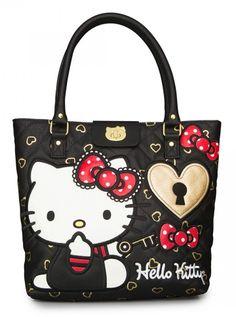 """Hello Kitty Lock & Key"" Fashion Tote Handbag by Loungefly (Black)"