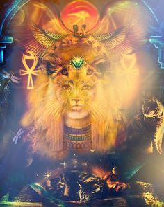 Goddess Sekhmet ~ version #2 #ancientegyptiangoddess #powerfulone #liongoddess #honorthegoddess Ancient Egyptian Deities, Ancient Goddesses, Egyptian Mythology, Egyptian Goddess, Goddess Art, Moon Goddess, Gaia, Aliens, Chakra Art