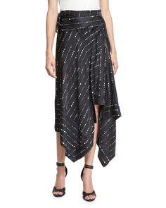 Greta Dot-Print Wrap Skirt, Black - Isabel Marant