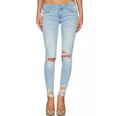 LUCLUC Lightwash Blue Ripped Slim Jeans (120 BRL) ❤ liked on Polyvore