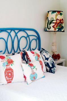 The main bedroom showcases Anna's love of fabrics.