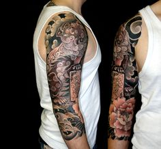 Japanese lion (shisa) 3/4 tattoo sleeve, artist unknown by re-pinner