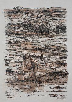 Às vezes me sinto como esta senhora que caminha sobre a lama. Porém, com os passos mais firmes tentando não deixar que os excessos de pessoas negativas ou de todo o cotidiano tornem o meu corpo adoecido, tão pouco a minha vida penitenciada. SENHORA CAMINHANDO NA LAMA (bico de pena, lápis de cor aquarelável s/ papel C à grain 224g/cm², tamanho: A4)