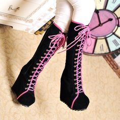 Womens Goth Roman Super Platform Wedge Heels Lace Up Knee High Boots size 7