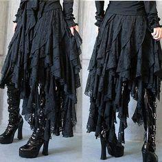 I found 'Black Emo Gothic Punk Scene Asymmetrical Full Long Skirts Clothing SKU-11406009' on Wish, check it out!