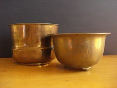 Set of Two Brass Planters